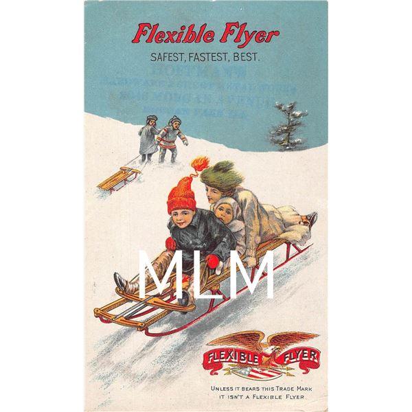 Flexible Flyer Safest, Fastest, Best Children Sleigh Riding Advertising Postcard