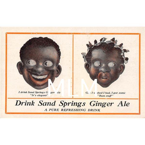 "Black Americana Advertising ""Drink Sand Springs Ginger Ale"" Postcard"