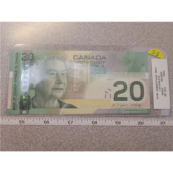 2004 $20.00 EZI19803381 Replacement note CUNC