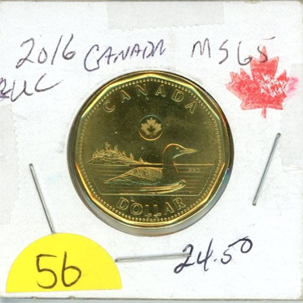 2016 Loonie MS65 from roll