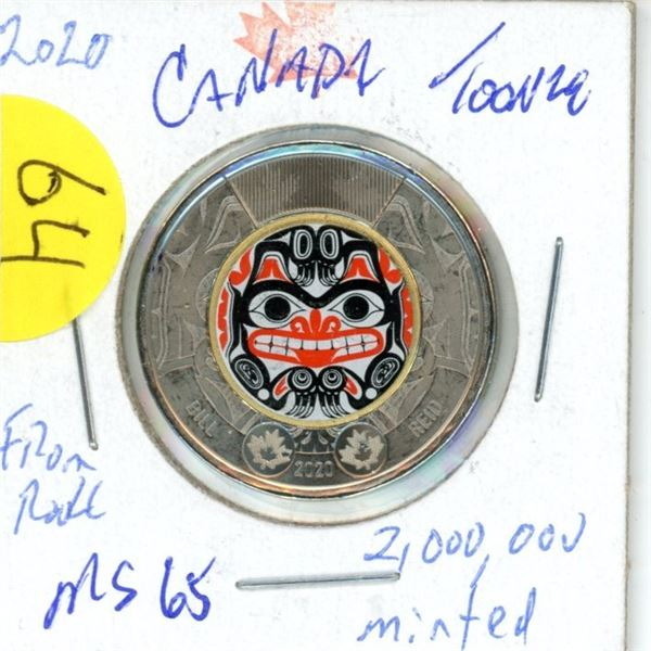 2020 Bill Reid colored toonie Low mintage MS65 from roll