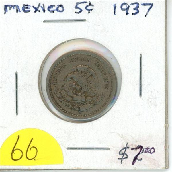 1937 Mexican 5 centavos