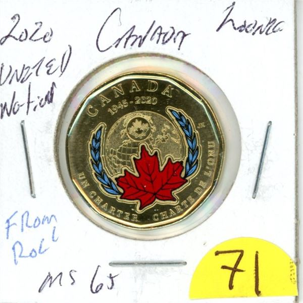 2020 united nations colored loonie MS65 from roll low mintage not sold to direct public