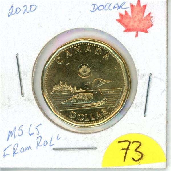 2020 loonie MS65 from roll low mintage