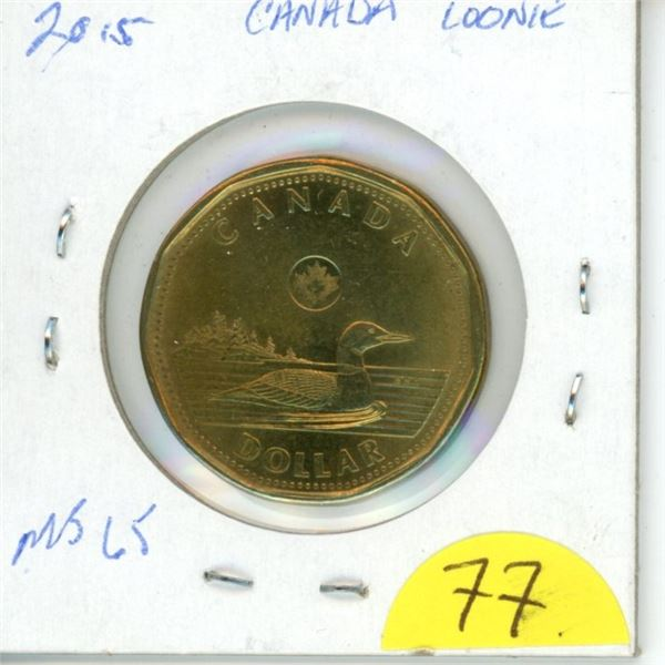 2015 loonie MS65 from roll low mintage