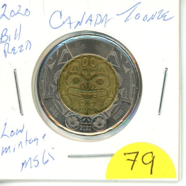 2020 Bill Reid uncolored toonie  MS65 from roll low mintage