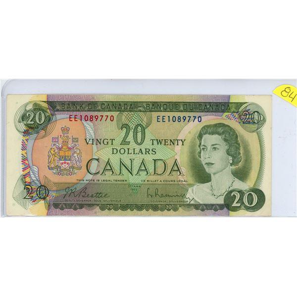 1969 $20.00 bill EE1089770 Beattie Raminsky