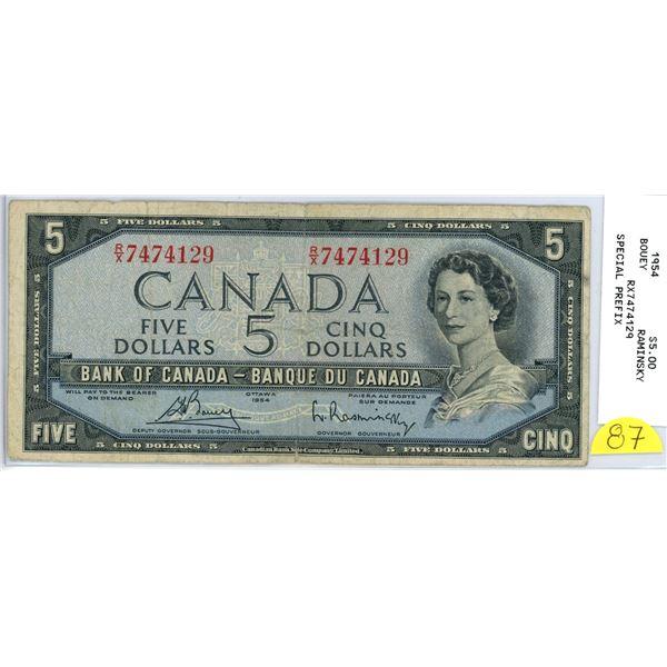 1954 $5.00 bill - R/X 7474129 Bouey Raminsky special prefix