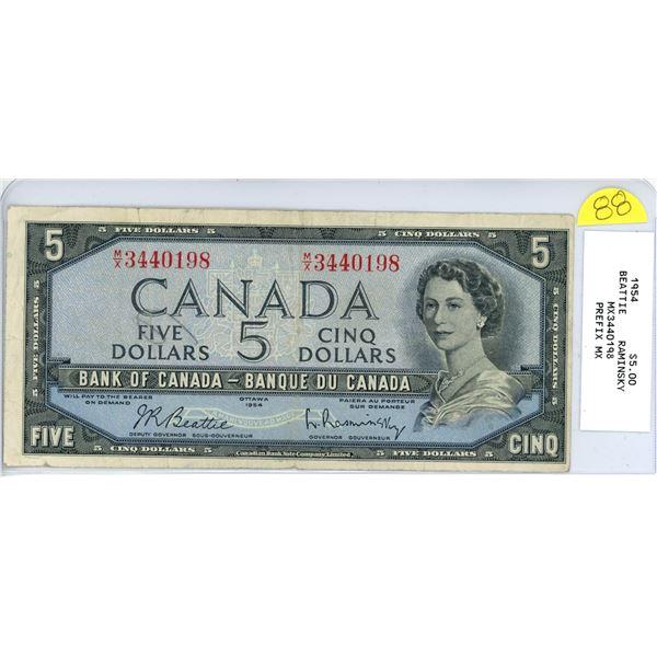 1954 $5.00 bill - M/X 3440198 Beattie Raminsky special prefix