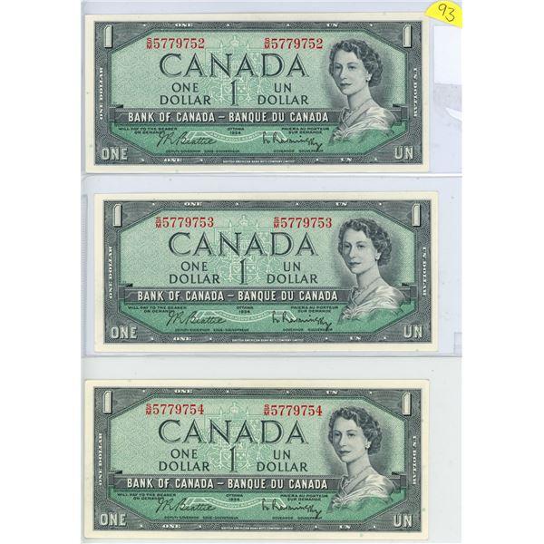 1954 $1.00 X 3 S/M 5779752-54 sequential gem unc