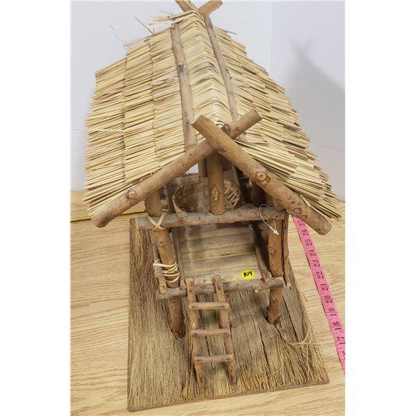"Wood Decorative thatch house 12""x12"""