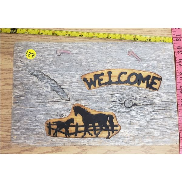 """Wood welcome sign 12"""" X 8""""  """"WELCOME"""""""