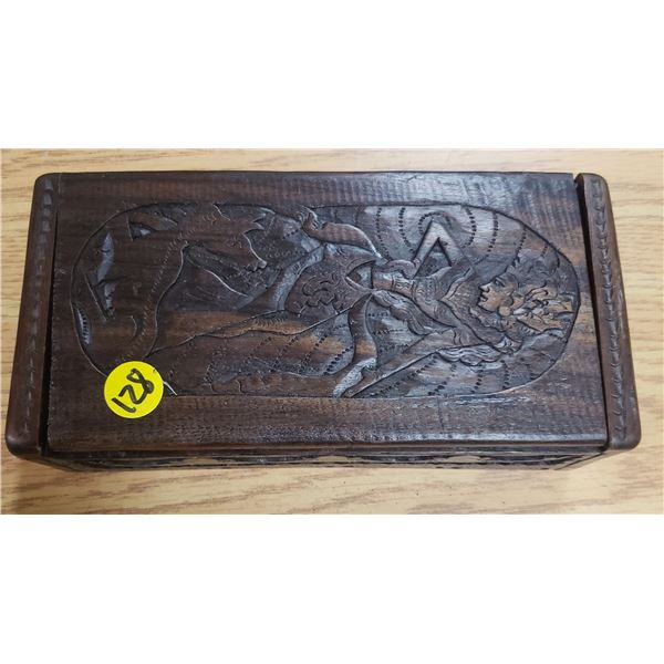"""hand carved keepsake box 10"""" X 4"""""""