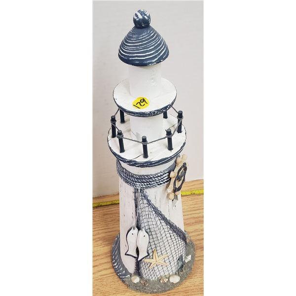 "Wood lighthouse 14"" tall"