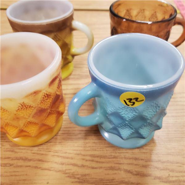 4 X Fire king Kimberly mugs