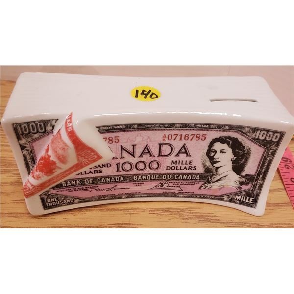 $1000 Canadian bill coin bank pottery