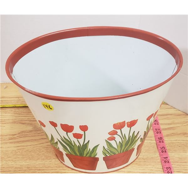 Vintage tin tulip garbage container