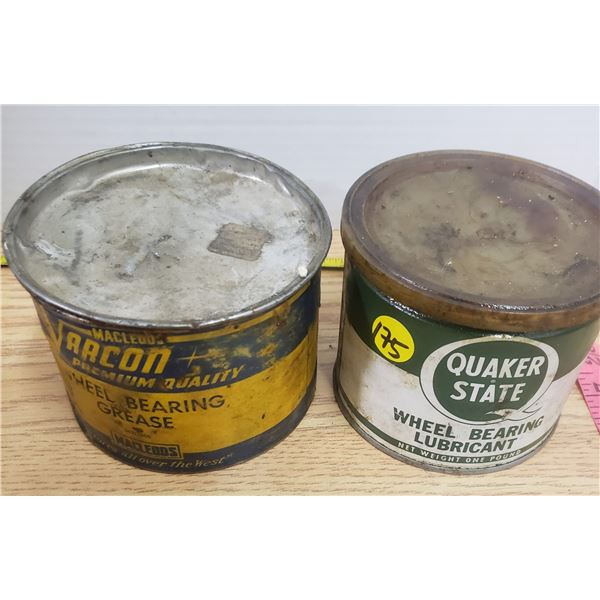 2 X vintage 1 pound grease cans