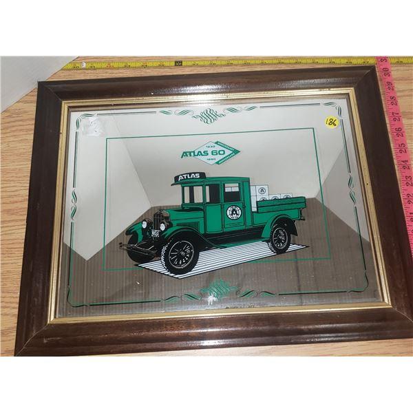 """Atlas Wood Framed mirror sign 18"""" X 12"""""""