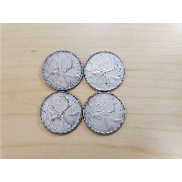 4 silver Canadian quarters 1956, 1965 x 2, 1968