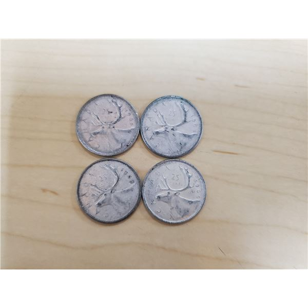 4 silver Canadian quarters 1964, 1965, 1966, 1968 non magnetic