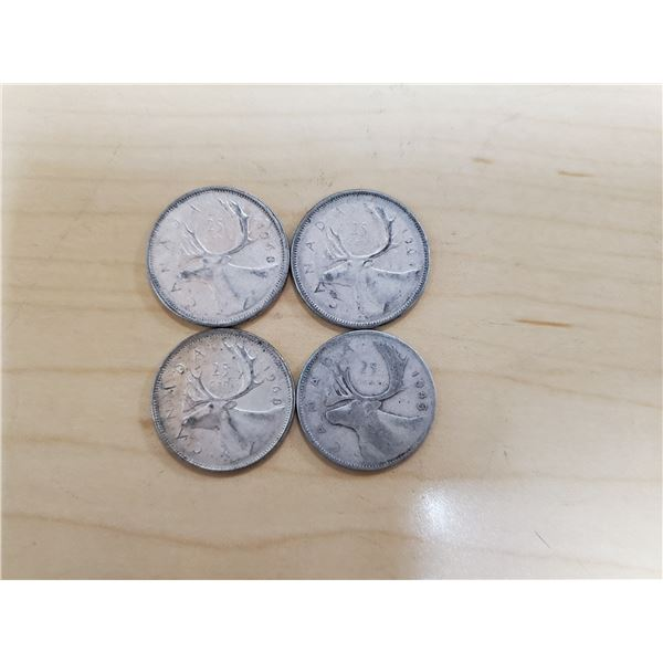 4 silver Canadian quarters 1943, 1964, 1968 x 2 non magnetic
