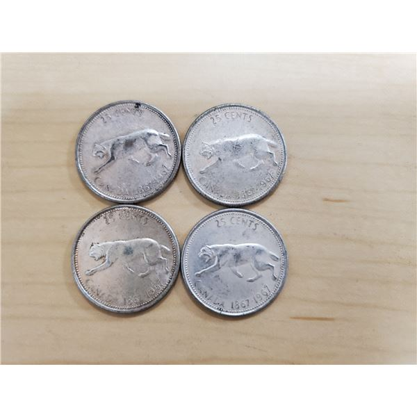 4 silver 1967 Canadian quarters
