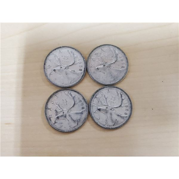 4 silver 1968 Canadian quarters