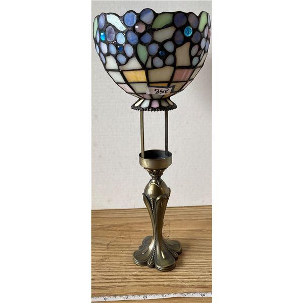 Brass Tealight Lamp Tiffany Shade
