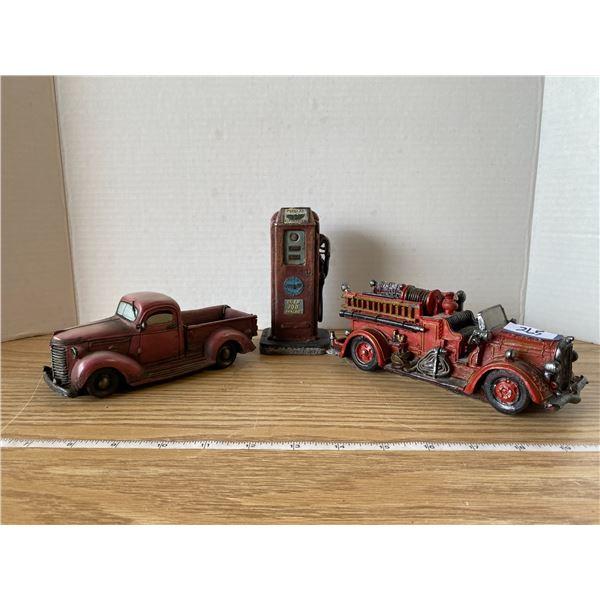 Gas Pump + Fire Truck + Truck