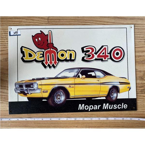 """Demon 340 Tin Sign 16""""x12"""""""