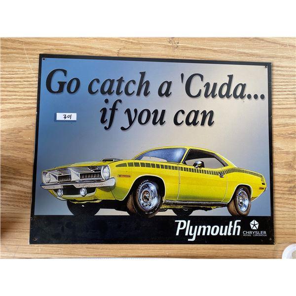 "Plymouth Cuda Tin Sign 16""x12"""