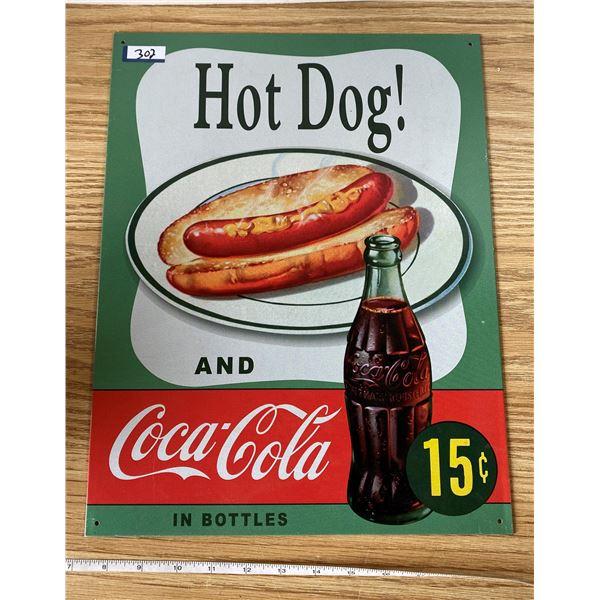 "Coca Cola 15 Cent Tin Sign 16""12"""