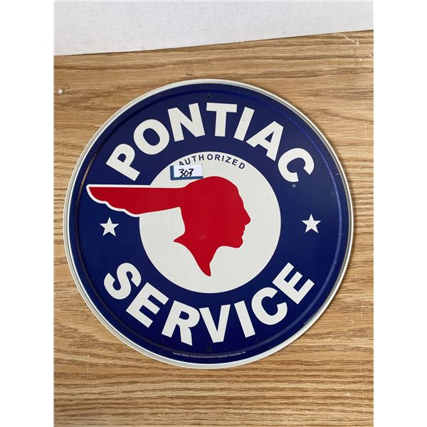 Pontiac Service Tin Sign 12 Inch Round