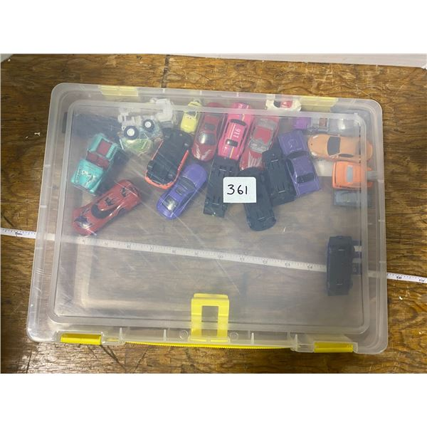23 Toy cars-trucks with plastic case