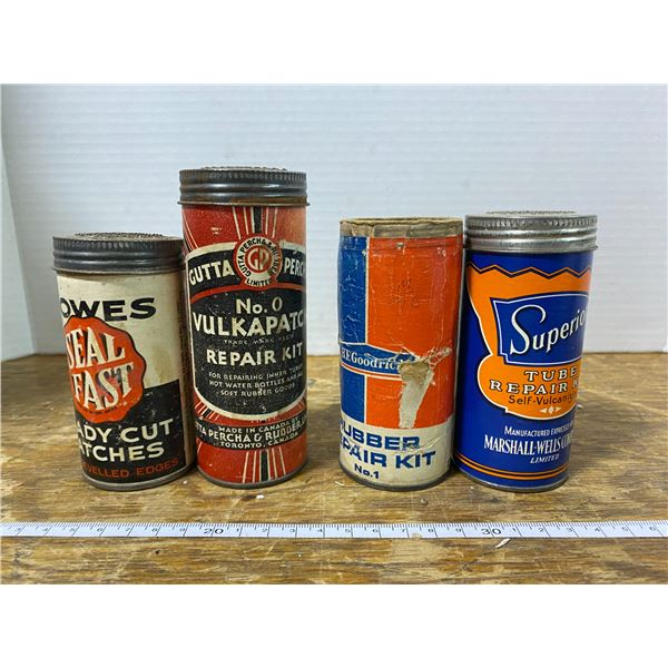 4 vintage tire repair kits (Bowes, B.F. Goodrich, Superior) one no top