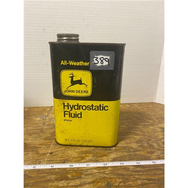 Vintage John Deere Hydrostatic fluid oil can, half full