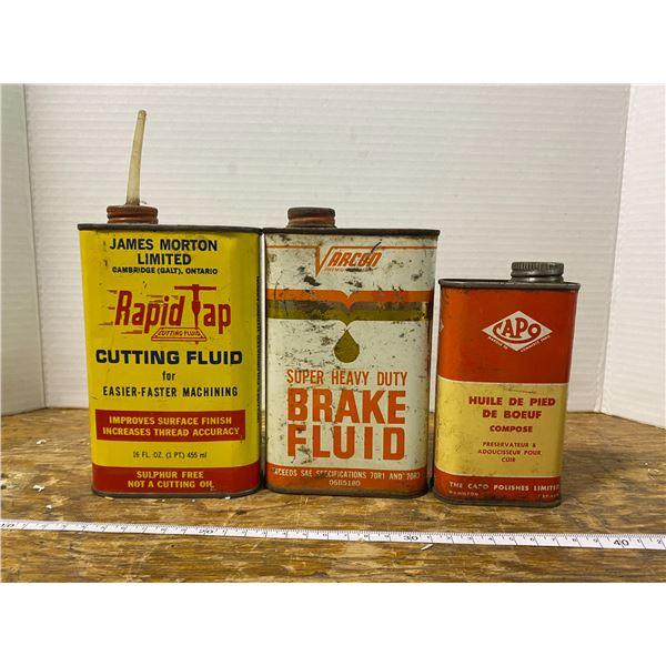 3 Fluid empty tins - Varcon, Capo, Rapid tap