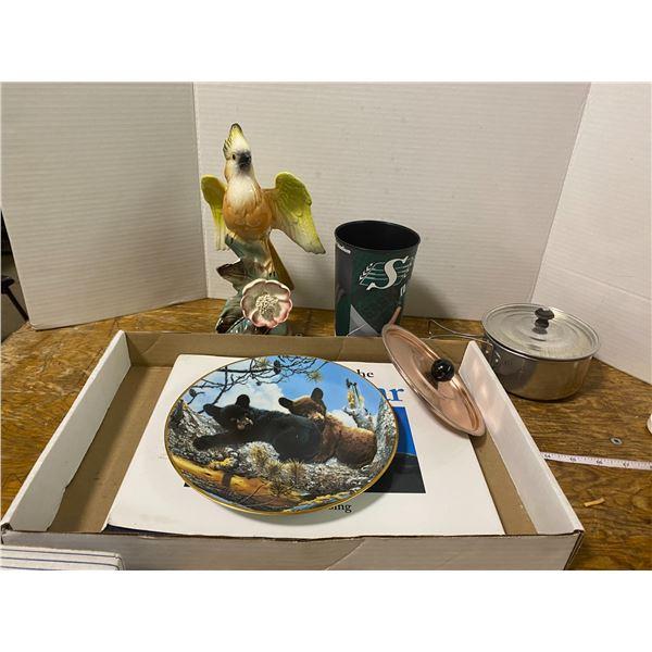 Mixed lot polar bear book, camp items, plate, parrot figurine