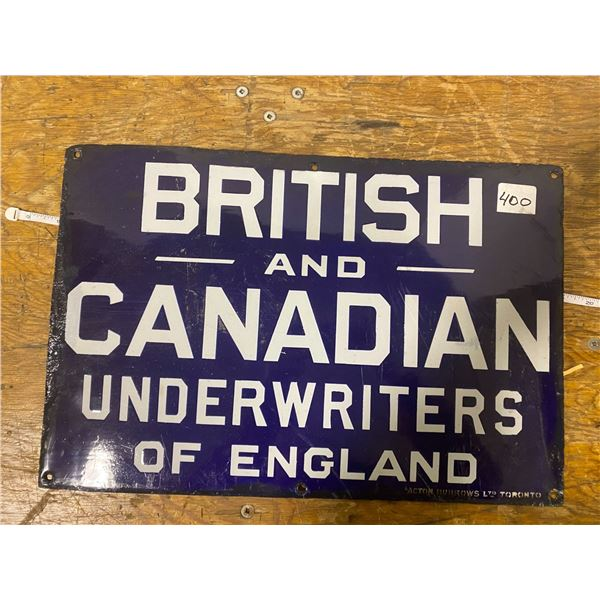 Original porcelain sign (British & Canadian underwriters of England) touch up