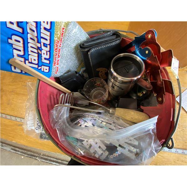 Lot Basket of Assort Items - Travel Mug, Christmas Glass, Masher, Spatula, Scrub Pads, Wallet