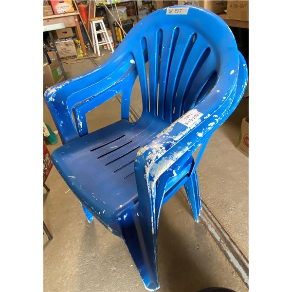 3 Blue Patio Chairs - Some Wear