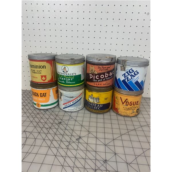 LOT OF VINTAGE TOBACCO TIN CANS ZIG ZAG DAILY MAIL PICOBAC