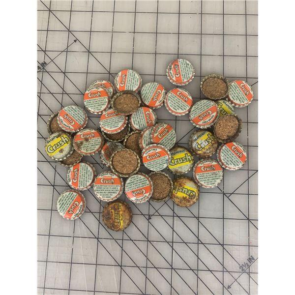 LOT OF VINTAGE CORK LINED ORANGE CRUSH SODA POP BOTTLE CAPS