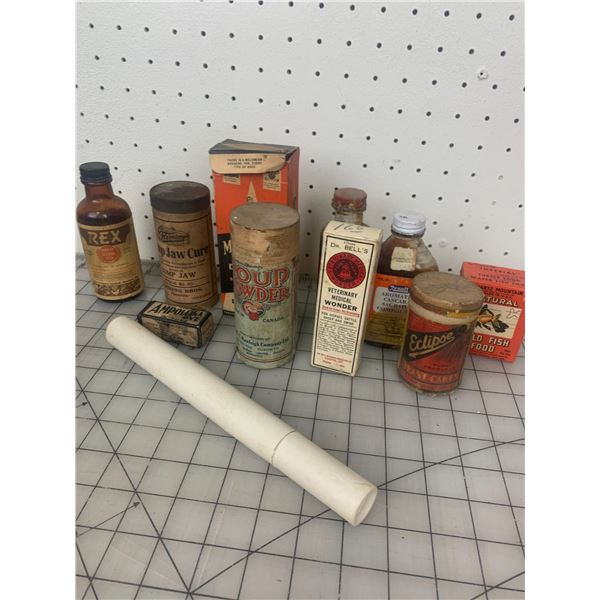 LOT OF OLD BOTTLES AND BOXES VETERINARIAN ETC