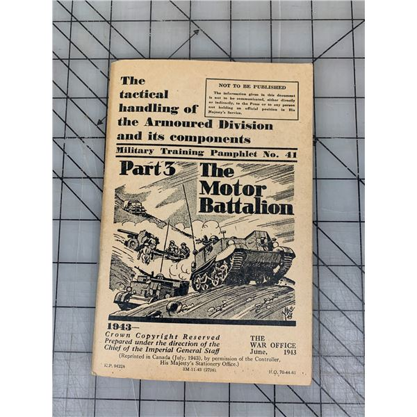 1943 MILITARY TRAINING PAMPHLET BOOM MOTOR BATTALION 121 PAGES