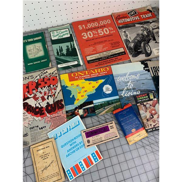 MISC OLD PAPER CATALOGS RATION BOOKS ETC