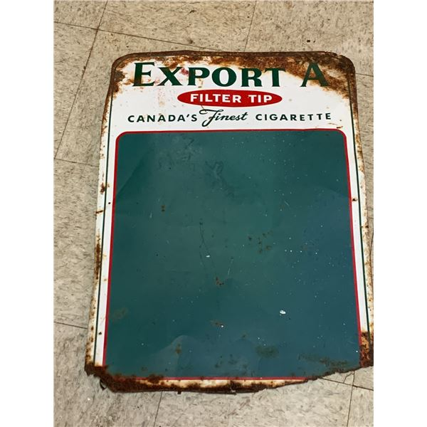 "VINTAGE EXPORT A CIGARETTES TIN CHALKBOARD SIGN 27"" x 19"""