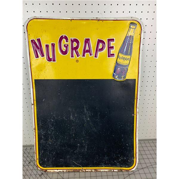 "RARE VINTAGE NUGRAPE SODA POP ADVERTISING CHALKBOARD SIGN 27 1/4"" x 19 1/4"""