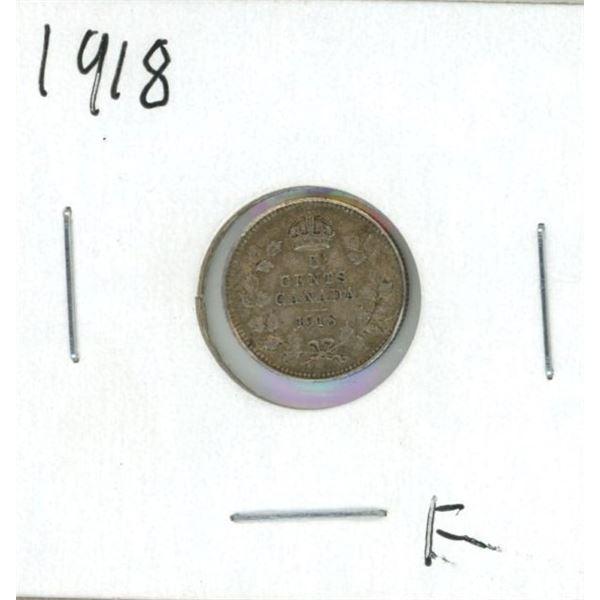 1918 Canadian Silver Nickel